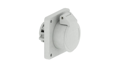 Panel-mounting socket outlet