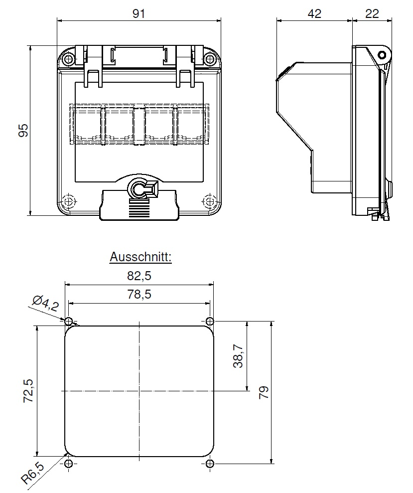 Operating window with protection against accidental contact
